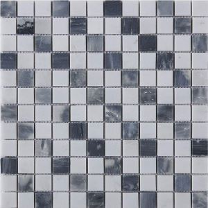 Square Ceramic Mosaic Tile Dark Gray and White Decor Tile Wall and Bathroom Tile