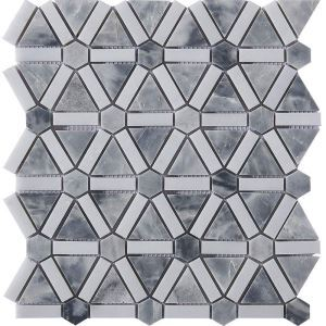 Triangle Ceramic Mosaic Tile Gray and White Bathroom Decor Tile