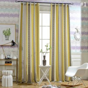 Modern Simple Curtain Geometry Jacquard Curtain Cotton Linen Fabric