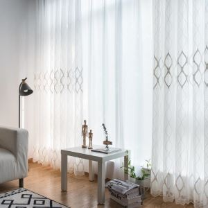 Modern Simple Sheer Curtain Geometry Jacquard Sheer Curtain Living Room Study Room Fabric