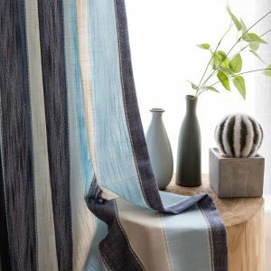 Nordic Modern Jacquard Curtain Blue Stripes Imitated Splicing Curtain Bedroom Living Room Fabric