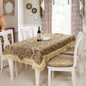 European Classical Tablecloth Coffe European Flower Jacquard Table Runner Chenille Tablecloth Table Runner
