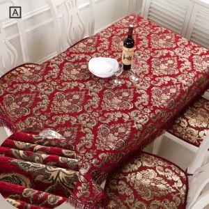 Luxurious European Tablecloth Red Classiacl Jarquard Table Runner Chenille Tablecloth Table Runner