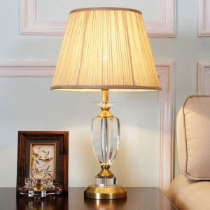 Contemporary Simple Table Lamp Iron Crystal Trophy Table Lamp Fabric Shade Desk Light