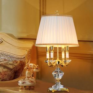 Contemporary Simple Table Lamp Elegant Iron Crystal Table Lamp 4-lights Desk Light