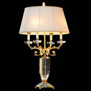 Contemporary Simple Table Lamp Splendy Iron Crystal Table Lamp 4-lights Desk Light