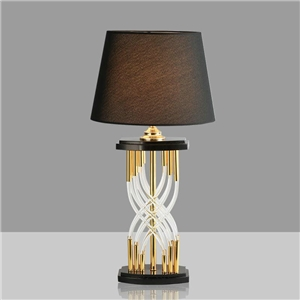 Contemporary Simple Table Lamp Hourglass Shape Fixture Iron Crystal Table Lamp Bedside Living Room Desk Light