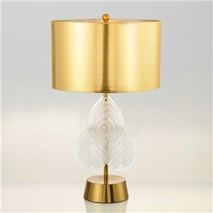 Contemporary Simple Table Lamp Iron Glass Desk Light Unique Fixture with Glass Leaf