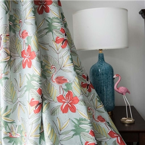 American Rural Curtain Flower Printing Curtain Blackout Bedroom Fabric