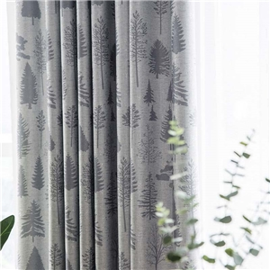 Modern Simple Curtain Pine Tree Printing Curtain Living Room Bedroom Blackout Fabric