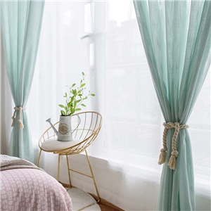 Japanese Fresh Sheer Curtain Solid Green Soft Sheer Curtain Bedroom Living Fabric