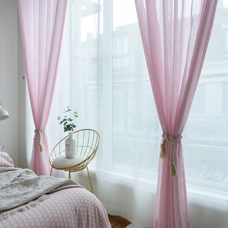Korean Esthetical Sheer Curtain Simple Pink Solid Soft Bedroom Living Room Fabric