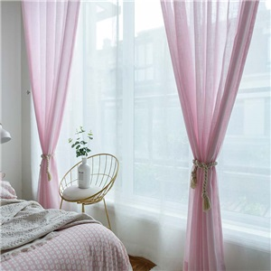 Korean Esthetical Sheer Curtain Simple Pink Sheer Curtain Solid Soft Bedroom Living Room Fabric