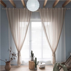 Japanese Simple Sheer Curtain Linen Stripes Jacquard Sheer Curtain Living Room Bedroon Fabric