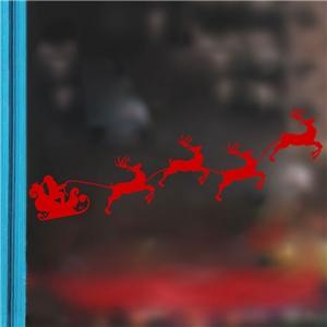 Contemporary Plain Wall Sticker Removable Christmas Theme Window Sticker Waterproof PVC Sticker Running Elk Santa Claus Pattern