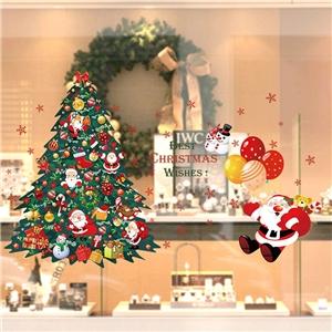 Contemporary Plain Wall Sticker Removable Christmas Theme Window Sticker Waterproof PVC Sticker Christmas Tree Santa Claus Ballon Pattern
