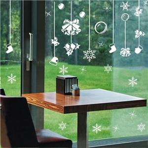 Contemporary Plain Wall Sticker Removable Jingling Bell Christmas Gift Window Sticker Waterproof PVC Sticker