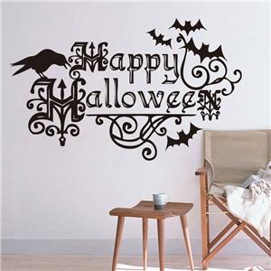 Crow and Bat Wall Sticker Halloween Theme Wall Sticker Waterproof Removeable Sticker