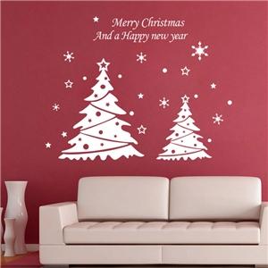 Contemporary Plain Wall Sticker Removable Christmas Tree Window Sticker Waterproof PVC Sticker
