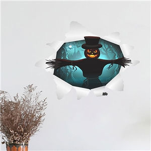 Contemporary Plain Wall Sticker Removable Christmas Wall Sticker Waterproof PVC Horrible Pumpkin 3D Window Sticker
