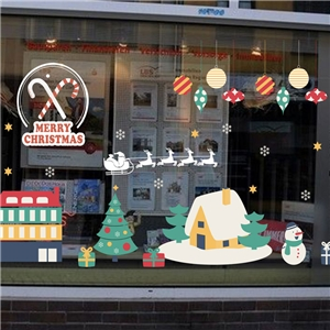 Contemporary Plain Wall Sticker Removable Christmas Wall Sticker Waterproof PVC Cartoon House Snowman Window Sticker