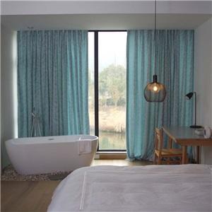 American Rural Curtain Simple Leaf Jacquard Curtain Environmental Protected Chenille Fabric