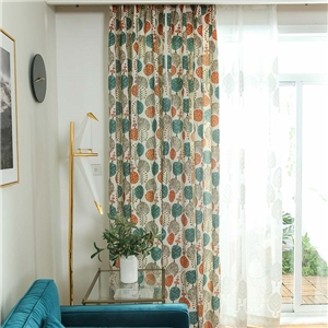 Modern Simple Curtain Polyester Cotton Cartoon Tree Printing Curtain Kid's Room Fabric