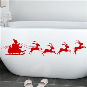 Contemporary Plain Wall Sticker Removable Christmas Wall Sticker Waterproof PVC Running Elk Santa Claus Window Sticker