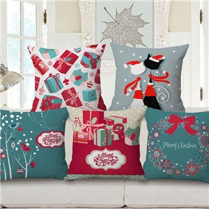 Modern Simple Pillow Cover Christmas Theme Cotton Linen Pillow Case Colorful Pattern