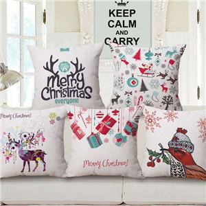 Nordic Simple Pillow Cover Christmas Theme Printing Cotton Linen Pillow Case
