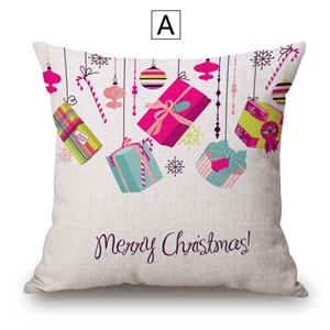 Creative Simple Pillow Cover Colorful Christmas Gift Cotton Linen Pillow Case