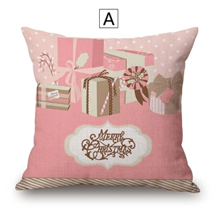 Pink Simple Pillow Cover Christmas Gift Printing Cotton Linen Pillow Case