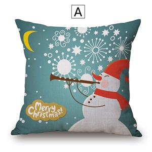 Fashional Cute Pillow over Christmas Theme Cotton Linen Pillow Case Cute Snowman Pattern