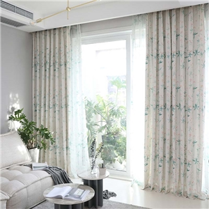 Japanese Graceful Curtain Cherry Blossom Printing Curtain Bedroom Living Room Semi Blackour Fabric