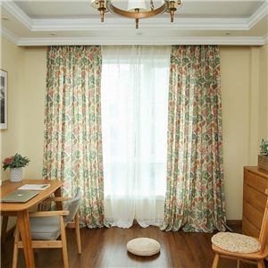 American Retro Curtain Abstract Flower Printing Curtain Bedroom Living Room Semi Blackout Fabric