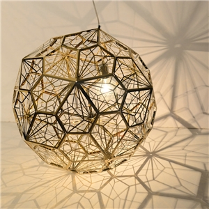 Contemporary Simple Pendant Light Stainless Steel Hollow Diamond Shape Pendant Light Living Room Bedroom Light