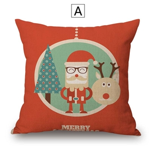 Nordic Simple Pillow Cover Christmas Theme Cute Santa Claus Elk Pillow Cover Cotton Flax Pillow Case