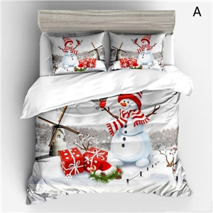 Simple Cute Bedding Set Christmas Theme Snowman Printing Bedclothes Breathable 4pcs Duvet Cover Set