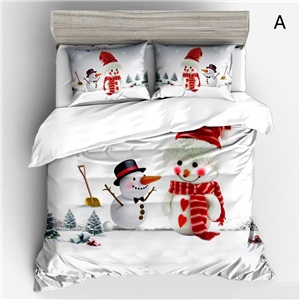 Creative Cute Bedding Set Chirstmas Theme 3D Digital Printing Bedclothes Soft 4pcs Duvet Cover Set