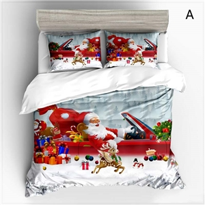 Cute Simple Bedding Set Christmas Theme Santa Claus Printing Bedclothes Soft Breathable 4pcs Duvet Cover Set