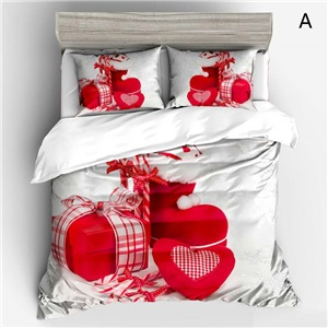 Crective Cozy Bedding Set Christmas Theme 3D Digital Printing Bedclothes 4pcs Soft Duvet Cover Set