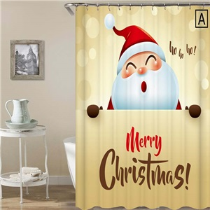 3D Printed Shower Curtain Happy Santa Claus Shower Curtain Waterproof Mouldproof Bathroom Curtain
