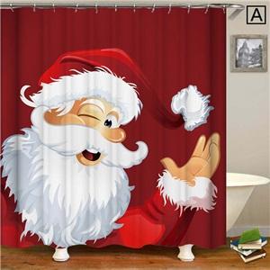 Waterproof 3D Printed Shower Curtain Nordic Cozy Shower Curtain Mouldproof Cute Santa Claus Bathroom Curtain