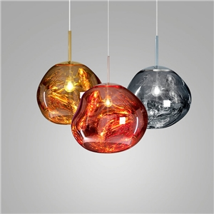 Coloured Glass Pendant Light Electroplating Irregular Lava Pendant Light Bedroom Study Light