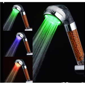 LED Hand Held Showerhead Pressure-Boost Chrome Finish Color Changing Water Purification LED Shower