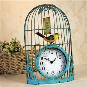 Metal Bird Cage Wall Clock Modern Non Ticking Wall Clock