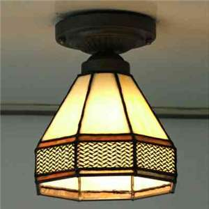 Retro Mini Light Tiffany Hallway Light Semi Flush Mount 5 Inch