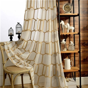 Honeycomb Embroidery Sheer Curtain American Abstract Sheer Curtain Living Room Bedroom Sheer Fabric