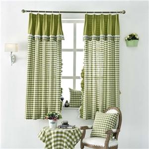 Checks Jacquard Curtain Japanese Rural Splicing Curtain Bedroom Window Curtain