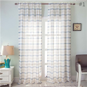 Checks Jacquard Sheer Curtain Japanese Simple Sheer Curtain Bedroom Living Room Fabric